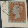 GREAT BRITAIN - 1842 1d red-brown QV, plate 26, check letters OF, used – SG # 8a