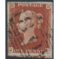 GREAT BRITAIN - 1843 1d red-brown QV, plate 41, check letters JF, used – SG # 8