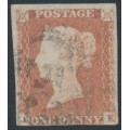 GREAT BRITAIN - 1849 1d red-brown QV, plate 88, check letters AK, used – SG # 8