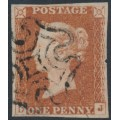 GREAT BRITAIN - 1841 1d red-brown QV, plate 22, check letters DJ, used – SG # 8l
