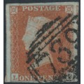 GREAT BRITAIN - 1850 1d red-brown QV, plate 105, check letters LF, used – SG # 8a