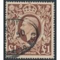 GREAT BRITAIN - 1948 £1 brown King George VI definitive, used – SG # 478c