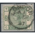 GREAT BRITAIN - 1884 6d dull green QV, large crown watermark, check letters TC CT, used – SG # 194