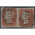 GREAT BRITAIN - 1852 1d red-brown QV, plate 148 pair, check letters CK + CL, used – SG # 8a
