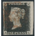 GREAT BRITAIN - 1840 1d black QV, plate 4, (penny black), check letters AL, used – SG # 2
