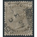 GREAT BRITAIN - 1882 4d grey-brown QV, Imperial Crown watermark, plate 18, used – SG # 160
