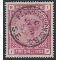 GREAT BRITAIN - 1883 5/- rose Queen Victoria, anchor watermark, used – SG # 180