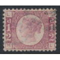 GREAT BRITAIN - 1870 ½d rose Queen Victoria 'Bantam', plate 15, used – SG # 49