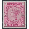 GREAT BRITAIN - 1883 5/- rose Queen Victoria, anchor watermark, check letters GF/FG, MNG – SG # 181