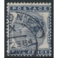 GREAT BRITAIN - 1881 5d indigo Queen Victoria, imperial crown watermark, used – SG # 161