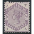 GREAT BRITAIN - 1883 3d lilac Queen Victoria, imperial crown watermark, check letters AT/TA, MNG – SG # 191