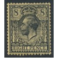 GREAT BRITAIN - 1913 8d black/yellow King George V, simple cypher watermark, mint hinged – SG # 390