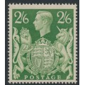 GREAT BRITAIN - 1942 2/6 yellow-green King George VI definitive, MNH – SG # 476b