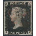 GREAT BRITAIN - 1840 1d intense black QV, plate 5, (penny black), check letters JF, used – SG # 1