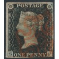 GREAT BRITAIN - 1840 1d black QV, plate 6, (penny black), check letters SF, used – SG # 2