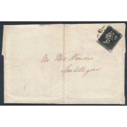 GREAT BRITAIN - 1840 1d black QV, plate 8, (penny black), check letters EI, on a folded letter – SG # 2
