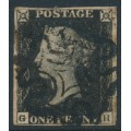 GREAT BRITAIN - 1840 1d black QV (penny black), plate 1b, check letters GH, used – SG # 2