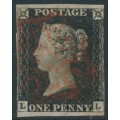 GREAT BRITAIN - 1840 1d black QV (penny black), plate 4, watermark inverted, check letters LL, used – SG # 2