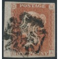 GREAT BRITAIN - 1841 1d red-brown QV, plate 10, check letters DA, used – SG # 7