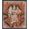 GREAT BRITAIN - 1843 1d red-brown QV, plate 34, check letters NF, used – SG # 8l