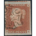 GREAT BRITAIN - 1843 1d red-brown QV, plate 36, check letters ME, used – SG # 8l
