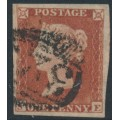 GREAT BRITAIN - 1852 1d red-brown QV, plate 154, check letters SE, used – SG # 8