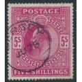 GREAT BRITAIN - 1912 5/- carmine King Edward VII definitive, used – SG # 318