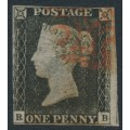 GREAT BRITAIN - 1840 1d black QV, plate 4, (penny black), check letters RB, used – SG # 2