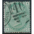GREAT BRITAIN - 1875 1/- green Queen Victoria, plate 12, spray of rose watermark, used – SG # 150