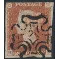 GREAT BRITAIN - 1841 1d red-brown QV, plate 9, check letters HJ, used – SG # 7