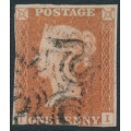 GREAT BRITAIN - 1841 1d red-brown QV, plate 14, check letters TI, used – SG # 8l