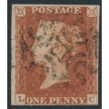 GREAT BRITAIN - 1841 1d red-brown QV, plate 16, check letters LC, used – SG # 8l