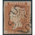 GREAT BRITAIN - 1842 1d red-brown QV, plate 25, check letters JD, used – SG # 8l
