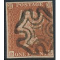 GREAT BRITAIN - 1843 1d red-brown QV, plate 32, check letters RL, used – SG # 8l