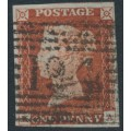 GREAT BRITAIN - 1845 1d red-brown QV, plate 56, check letters KA, used – SG # 8