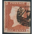 GREAT BRITAIN - 1845 1d red-brown QV, plate 60, check letters DK, used – SG # 8