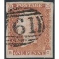 GREAT BRITAIN - 1846 1d red-brown QV, plate 67, check letters RC, used – SG # 8