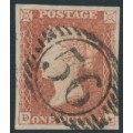 GREAT BRITAIN - 1850 1d red-brown QV, plate 95, check letters DA, used – SG # 8
