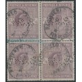GREAT BRITAIN - 1911 2/6 dull reddish purple King Edward VII definitive, block of 4, used – SG # 317