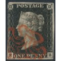 GREAT BRITAIN - 1840 1d black QV (penny black), plate 4, check letters EB, used – SG # 2