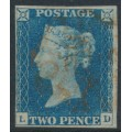 GREAT BRITAIN - 1840 2d blue Queen Victoria, imperforate, plate 1, check letters LD, used – SG # 5