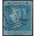 GREAT BRITAIN - 1841 2d blue Queen Victoria, imperforate, plate 3, check letters AE, used – SG # 13