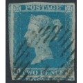 GREAT BRITAIN - 1841 2d blue Queen Victoria, imperforate, plate 3, check letters MC, used – SG # 13