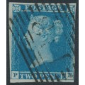 GREAT BRITAIN - 1841 2d blue Queen Victoria, imperforate, plate 3, check letters PF, used – SG # 14