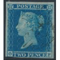 GREAT BRITAIN - 1849 2d blue Queen Victoria, imperforate, plate 4, check letters OF, used – SG # 14