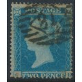 GREAT BRITAIN - 1854 2d pale blue Queen Victoria, perf. 16, plate 4, check letters CD, used – SG # 20