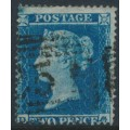 GREAT BRITAIN - 1854 2d blue Queen Victoria, perf. 16, plate 4, check letters DG, used – SG # 20a