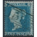 GREAT BRITAIN - 1855 2d greenish blue Queen Victoria, perf. 14, plate 5, check letters FD, used – SG # 34