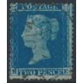 GREAT BRITAIN - 1855 2d blue Queen Victoria, perf. 14, plate 5, check letters RE, used – SG # 34