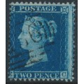 GREAT BRITAIN - 1857 2d blue Queen Victoria, perf. 14, plate 6, check letters EC, used – SG # 35